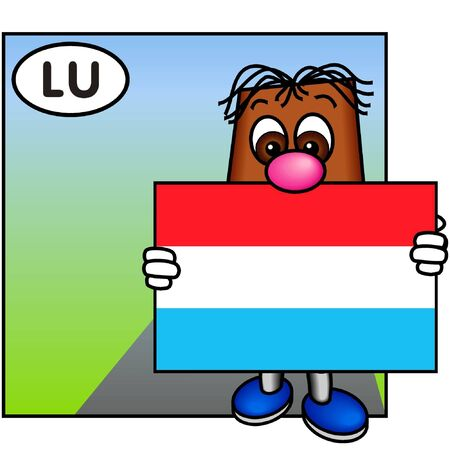 brownie: Brownie Bearing the Flag of Luxembourg