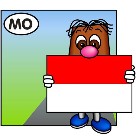 brownie: Brownie Holding the Flag of Monaco Stock Photo
