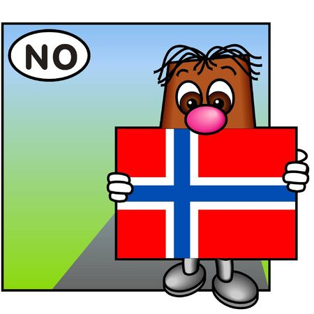 brownie: Brownie Carrying the Norwegian Flag Stock Photo