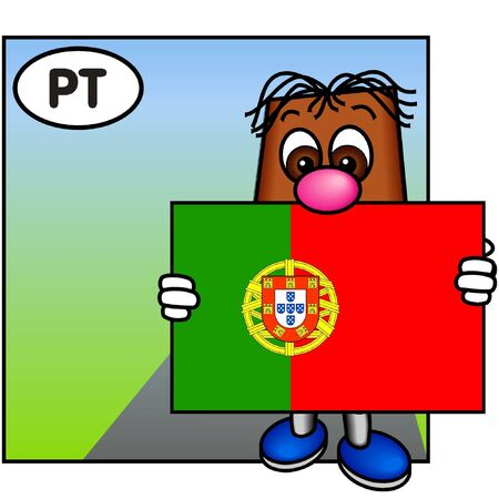 brownie: Brownie Carrying the Flag of Portugal