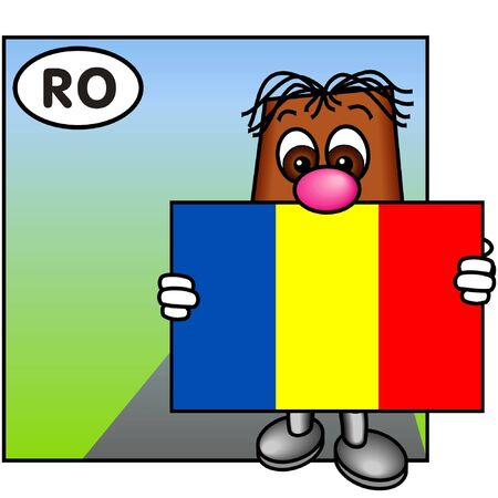 brownie: Brownie Holding the Romanian Flag Stock Photo