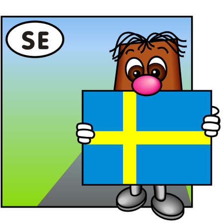 brownie: Brownie Carrying the Swedish Flag