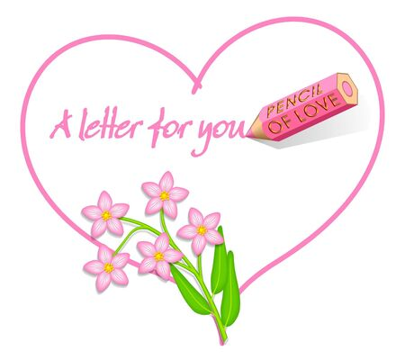 Love Letter, Heart with Wild Pink Flowers, 'Centaurium erythraea' Stock Photo - 2373925