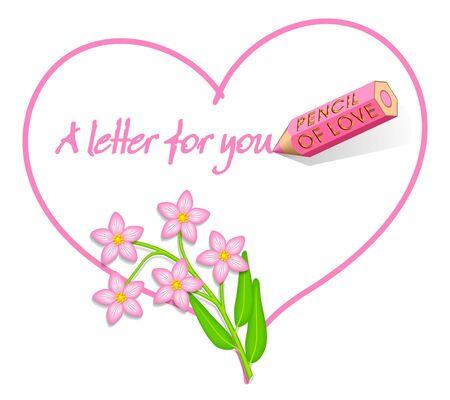 Love Letter, Heart with Wild Pink Flowers, Centaurium erythraea photo