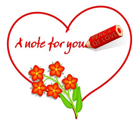 Love Note, Heart with Scarlet Pimpernel aka Red Chickweed Stock Photo - 2373926