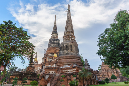 old pagoda and blue sky in public temple of Ayutthaya