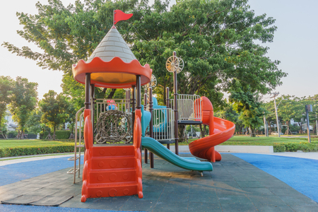jungle gyms: A colorful public playground in a garden Stock Photo