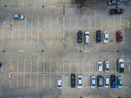 blacktop: Empty parking lots, aerial view.