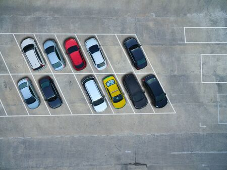 vacant lot: Empty parking lots, aerial view.