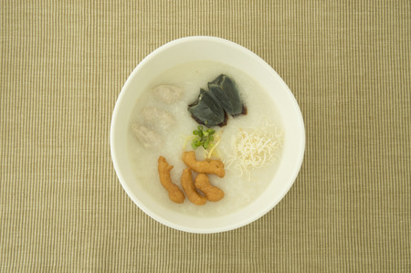 Congee with hundred-year egg Stock Photo