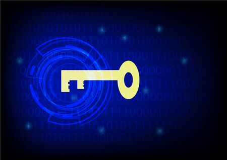 secret code: Key with glowing digital one zero background - best for Computer or Network cyber Security