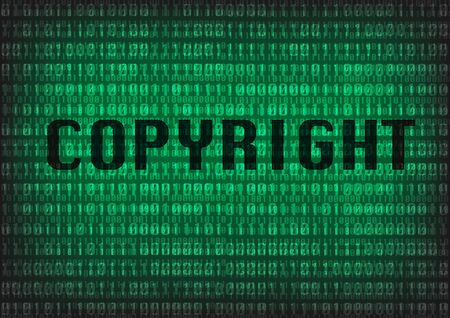 Copyright TEKST met digitale decimaal getal achtergrond