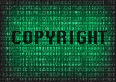 decimal: Copyright TEXT with digital decimal number background