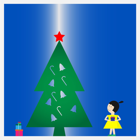 new look: Yellow dress girl hold a gift box and look to chirstmas tree in happy new year event
