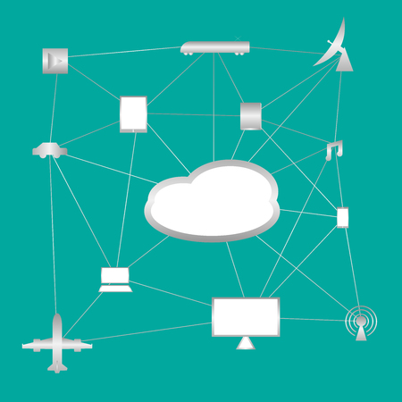 Cloud Technology with link to computer desktop, laptop, mobile phone, airplane, wi-fi, car, train, music Illustration