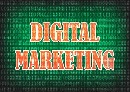 decimal: Digital Marketing Text with digital decimal number background