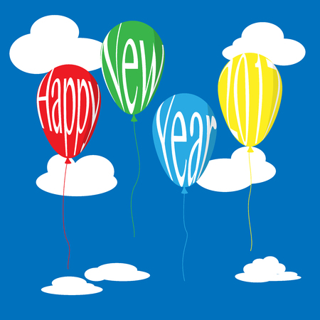 Balloons float in the blue sky with clound and Happy new year 2017 text