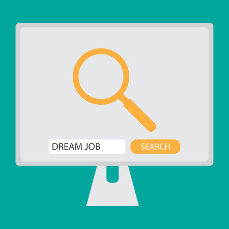 find  Search dream job on computer with search sign, search button, text box