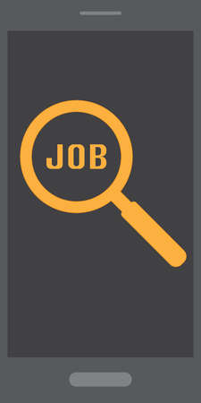 Find  Search job on mobile phone with search sign, and job wording