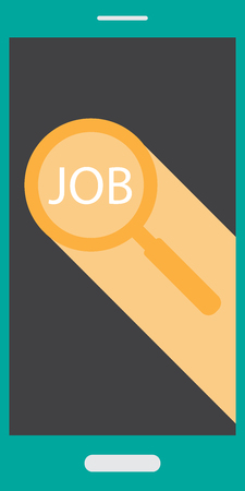 Find  Search job on mobile phone with search sign and job wording
