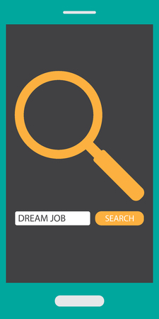 Find  Search dream job on mobile phone with search sign, search button, text box