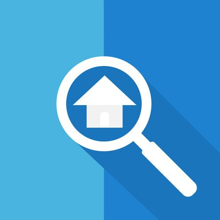 Search or Find house  Symbol  Icon  Sign with long shadow Illustration