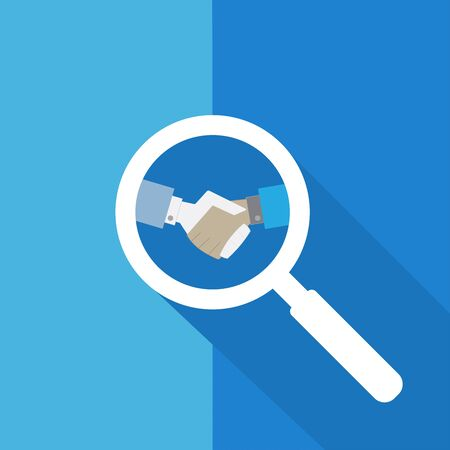 Search or Find Partnership  Symbol  Icon  Sign with long shadow