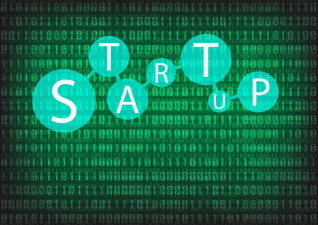 Startup wording with digital background