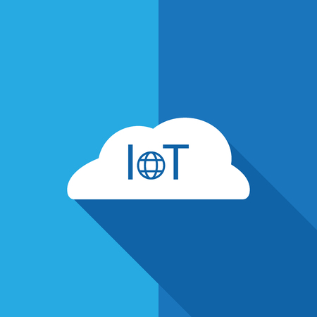 A IoT Internet of Thing - icon sign symbol flat design with long shadow