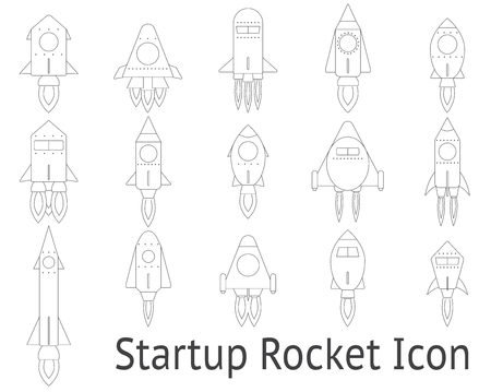 Startup rocket icon set - outline design