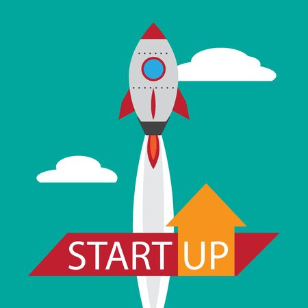 Startup rocket and text Illustration