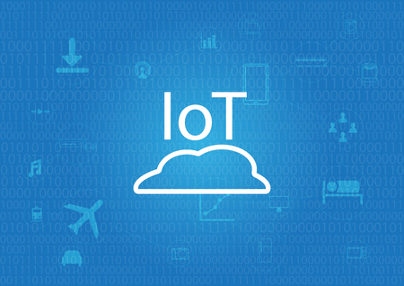 IoT - Internet of thing background with digital decimal number Illustration