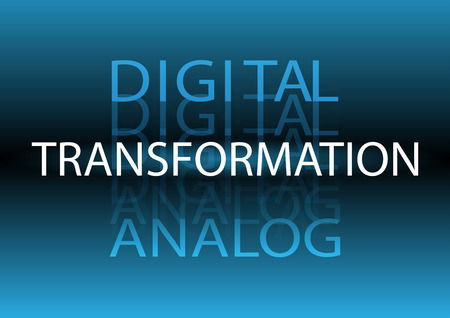Digital Transformation from Analog background 일러스트