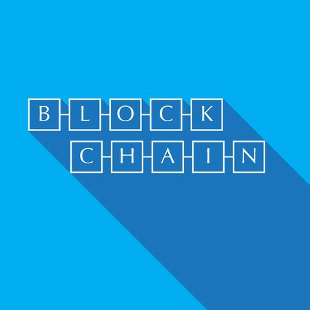 Blockchain sign  icon symbol flat design with long shadow