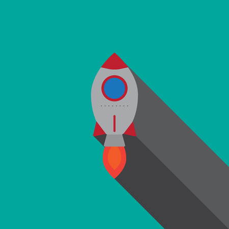Startup rocket - icon sign symbol flat design with long shadow