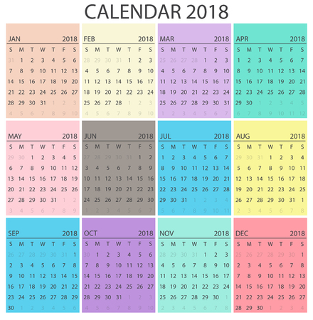 Colorful calendar  design.