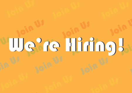 We are Hiring Text on Join Us background