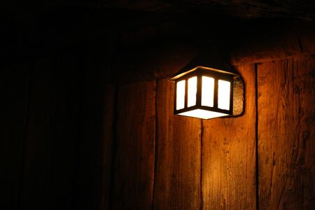 lamp light: lantern lamp light dark wooden wall