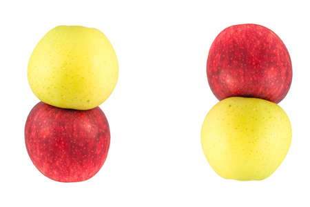 foodstill: Apple two vertical pile isolated on white.