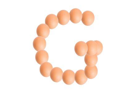 uppercase: G,Egg alphabet uppercase on white background.