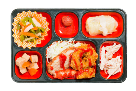 fritter: Japan Food set of chicken fritter and other in a box isolated on white  Japan food (Bento). Stock Photo