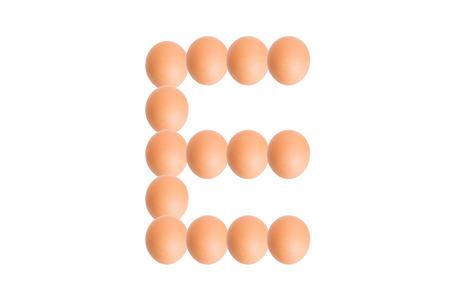 uppercase: E,Egg alphabet uppercase on white background.