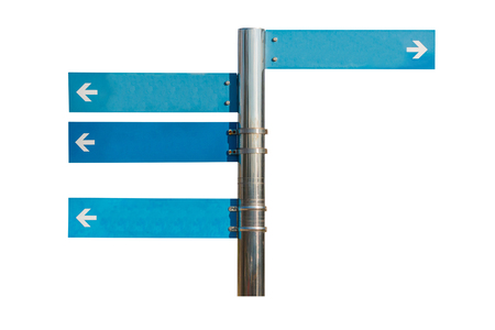 Blank direction blue signpost isolated on white background. Stock Photo