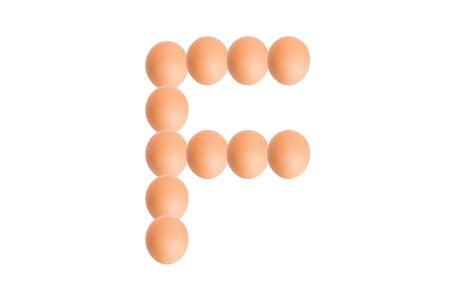 uppercase: F,Egg alphabet uppercase on white background.