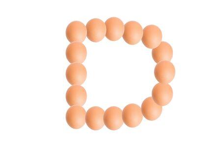 uppercase: D,Egg alphabet uppercase on white background.