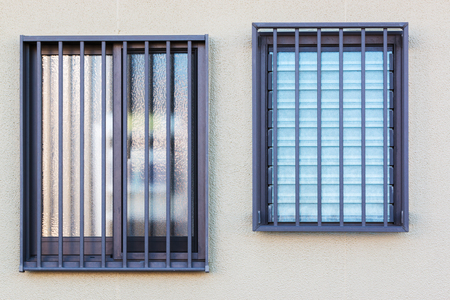 louver: Glass louver windows with wall texture. Stock Photo