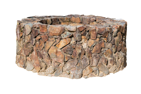 wells: Traditional Ancient stone well isolated on white background.