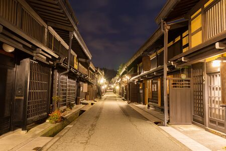 gifu: Old district wooden houses at historical Takayama town in night at gifu japan.