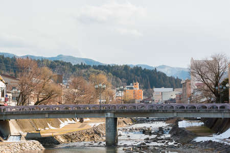 bridge nature: Canal in Takayama old town with empty bridge nature background