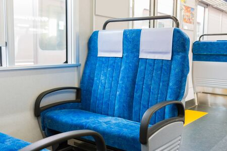 stateroom: Interior of train with empty seats business transportation and travel background. Stock Photo
